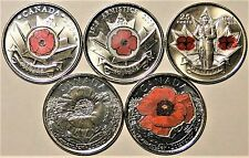 "2004-2008-2010-2015 x 2  25 CENT CANADIAN/CANADA (5) COINS ALL UNC ""POPPY"" COINS"