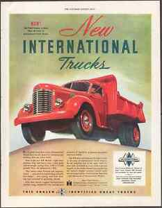 "1947 International Harvester Motor Trucks KB Print Art Car Advert 10.5"" x 13.75"""
