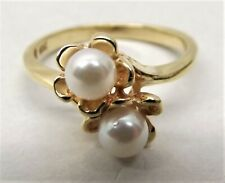 Vtg 10K Gold Cultured Pearl Ring Sz 4 Double Pearl Flower Floral Setting Dainty