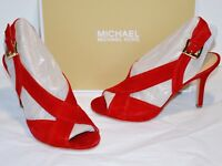 128141133948 New  120 Michael Kors Becky Sandal Bright Red Suede Heel Gold Buckle Open  Toe