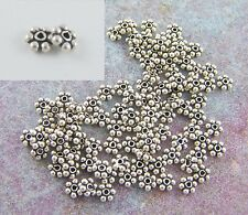 100 Sterling Silver 3.5mm Daisy Spacer Beads