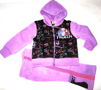 Girls Frozen Princess Tracksuit Outfit Set, Hooded Zip Sweat top+Pants 1 to 6yrs