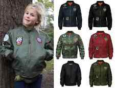 Kids Girls Boys Badges MA1 Bomber Jacket Children Pilot Military Coat Harrington