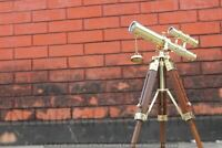 Nautical Vintage Marine Double Barrel Brass Telescope With Wooden Tripod Stand