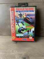 Triple Score 3 Games in 1 Sega Genesis Box Only ***No Game Cartridge***