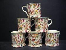 Set Of 6 Rabbit Meadow Small English Fine Bone China Mugs Cups By Milton China
