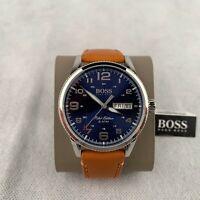 Hugo Boss Men's Pilot Brown Leather Strap Band Blue Dial Watch Quartz 1513331