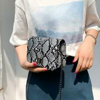 Fashion Snake Print Shoulder Handbags PU Leather Women Chain Crossbody Bags