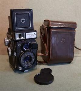 Vintage Yashica E Twin Lens Reflex Camera with Flash in Case for Restoration