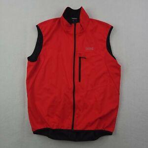 Gore Wear Windstopper Vest Mens 2XL XXL Running Cycling Biking Red Silver