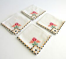 4 Luncheon Napkins Cross Stitched Embroidered Linen Floral USA Seller