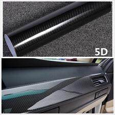 "5D Ultra Shiny Gloss Glossy Black Carbon Fiber Vinyl Wrap Sticker Decal 15""x40"""