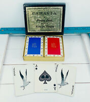 Vintage Canasta Playing Cards Complete Double Deck Blue Red  HIL 059