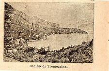 Stampa antica TREMEZZO TREMEZZINA piccola veduta lago di Como 1899 Old print