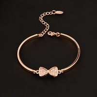 Charm Crystal Bowknot Cute Bow Bracelet Bangle For Women Silver/Gold Color SL299