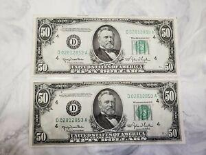 1950 $50.00 2 Consecutive Sequential Federal Reserve Notes UNC CRISP