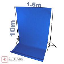 Profi BLAU blue - Hintergrund 1.6m x 10m Lang ! mit Pappröhre FOTOHINTERGRUND