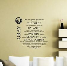 Star Wars Wall Decal Gray Jedi Code Quote Yoda Vinyl Sticker Decor Mural 49sw