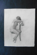 FRENCH SCHOOL 19thC - STUDY FEMALE NUDES - PENCIL DRAWING