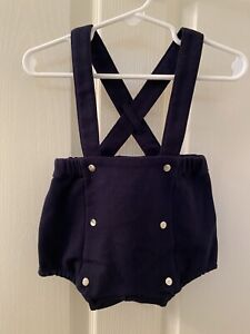 Jacadi Paris Navy Blue Leandry French Short Overalls Baby Boys Size 6 Months NWT