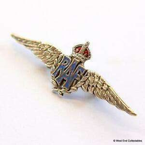1930s WW2 RAF Sweetheart Brooch Badge STERLING SILVER KC- Royal Air Force #A008