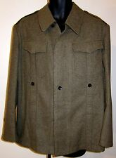 1960s West German Military Uniform Field Jacket Wool w Patches Stripes Metzingen