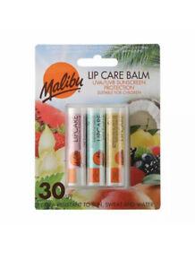 Malibu Lip Care Balm Blister Pack - SPF30 - 3 Pack - Vegan Friendly