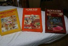 LOT Vintage Atari 2600 Video Games & Boxes Manuals Home Run Olympics Slot Racers