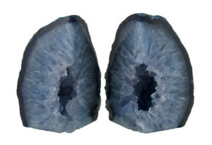 Zeckos Small Polished Blue Brazilian Agate Geode Bookends <4 Pounds