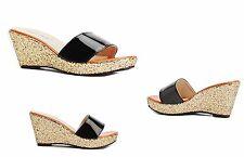 Ladies Gold Glitter Wedged Heel Slip-on Black Sandals in UK 5 EU/38 Only 2 Left!