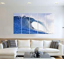 Wave seascape print on canvas, beach wave canvas print, 5 panel print ocean art