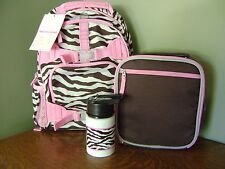 Pottery Barn Kids Chocolate Zebra Small Backpack, Lunch Bag & Water Bottle ~ 3PC