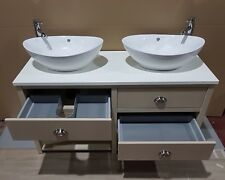 Quality Double Bathroom Cabinet WashStand 140cm solid surface Top vanity unit