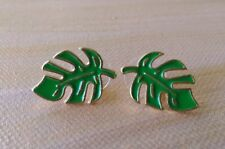 Pair - The Metal Philodendron leaf Stud Earrings with gift bag