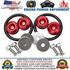 Red Aluminum JDM Quick Release Fasteners Bumper Car Trunk Fender Hatch Lids Kit