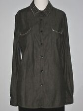 BIANCA NYGARD Size 8 Blue Long Sleeve Button Down Studded Shirt