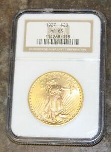 1927 MS 63 $20 Saint Gaudens Double Eagle Gold Coin NGC Certified Rare Bullion