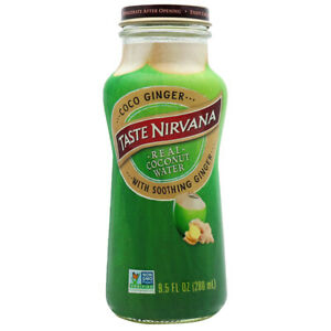 Taste Nirvana Real Coconut Water with Soothing Ginger 9.5 oz ( Pack of 6 )