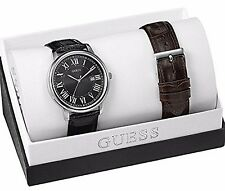 GUESS MEN'S 2 PC. DATE WATCH,  W/2 LEATHER BAND BOX SET, W0384G2 NIB,
