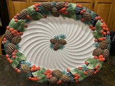 """Fitz & Floyd Large Figural Holiday Pine 20"""" Platter Holly Berries Pinecones"""