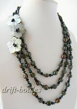 20'' 3strands 10mm black baroque Freshwater Pearl shell flower Necklace