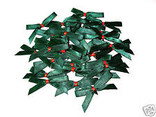 30 XMAS FORREST GREEN/RED PLAIN SATIN BOWS 53MM WIDE