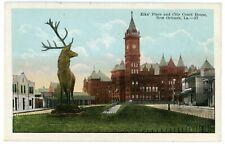 Postcard - New Orleans, La, Giant Elk Statue, Elks Place & City Court House