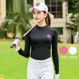 Autumn Women Golf Underwear Shirts Long Sleeves Warm Winter Run Golf Base Shirt