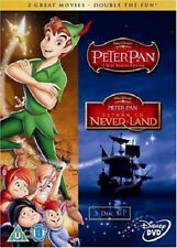 PETER PAN PART 1 + 2 DVD Return to Never Disney Movie Film Cartoon New Sealed UK