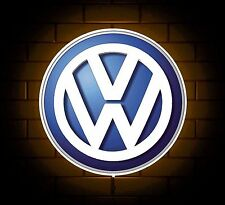 VW BADGE SIGN LED LIGHT BOX MAN CAVE GARAGE WORKSHOP GAMES ROOM BOYS GIFT GTI