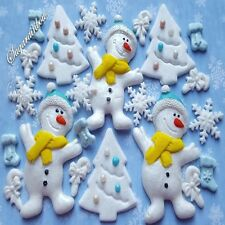 Edible sugar christmas snowman snowflakes tree socks sticks cake toppers