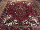 Genuine Hand Knotted Vintage Heriz Serapi Area Rug Geometric Carpet 10x12ft,1120
