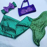 Toddler Kids Baby Girls 3pcs Mermaid Tail Bikini Set Swimwear Swimsuit Beachwear