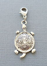TURTLE Pendant Clip On Charm silver tone Fits floating locket link chain  S58